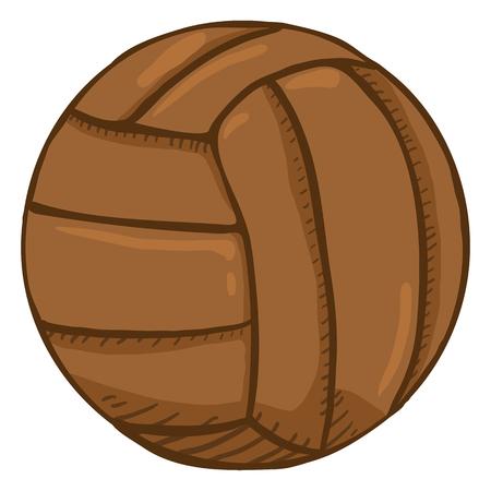 Ilustración de Vector Cartoon Brown Old Fashioned Leather Volleyball Ball - Imagen libre de derechos