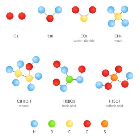 Illustration pour Vector Set of Molecular Formula Icons. Chemistry Concept. - image libre de droit