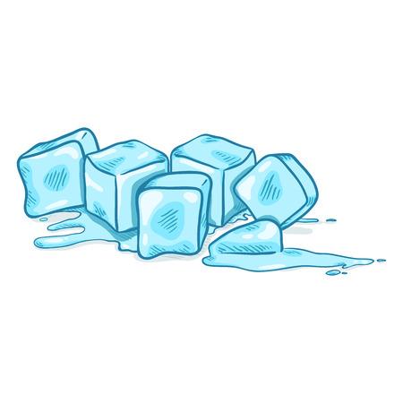 Illustration pour Vector Cartoon Illustration - Blue Ice Cubes Melting - image libre de droit
