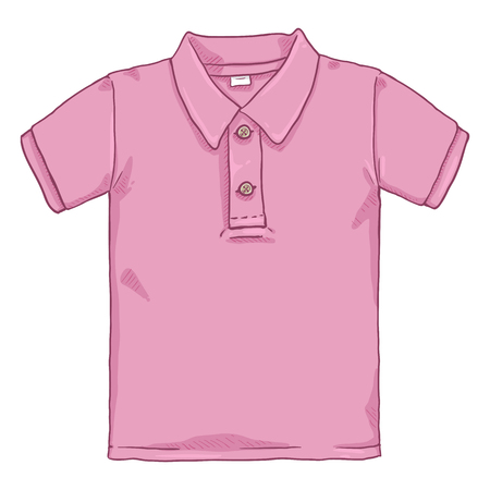 Illustration for Vector Cartoon Illustration - Pink Polo Shirt - Royalty Free Image