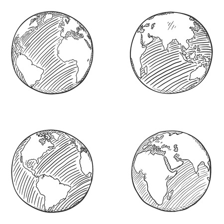 Illustration for Vector Set of Sketch Globe Illustrations. 4 different Foreshortening of Earth Planet. - Royalty Free Image