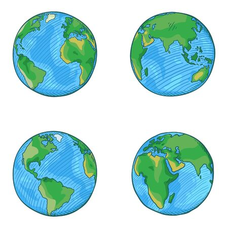 Illustration for Vector Set of Cartoon Globe Illustrations. 4 different Foreshortening of Earth Planet. - Royalty Free Image
