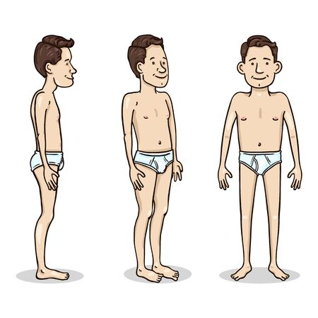 Illustration for Vector Cartoon Color Character - Young Man in White Underpants. Set of Different Foreshortening. - Royalty Free Image