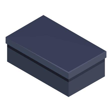 Illustration for Vector Single Flat Black Shoe Box Illustration - Royalty Free Image