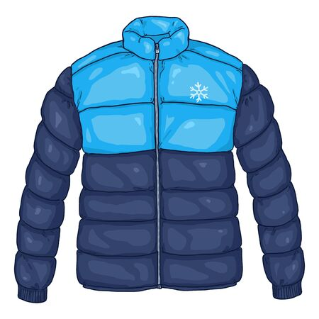 Illustrazione per Vector Cartoon Blue Down Jacket Illustration with Snowflake Logo - Immagini Royalty Free