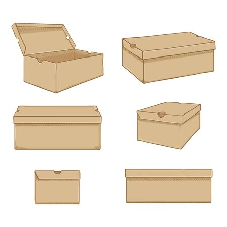 Illustration for Vector Set of Cartoon Brown Shoe Boxes Illustration. Different Views Variations - Royalty Free Image