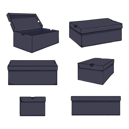 Illustration for Vector Set of Cartoon Shoe Boxes Illustration. Different Views Variations - Royalty Free Image