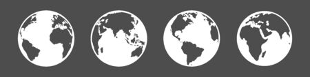 Illustration for Vector Set of White Silhouette Globe Icons. 4 different Foreshortening of Earth Planet. - Royalty Free Image