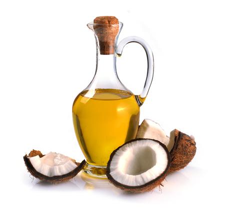 Photo pour Coconuts and coconut oil on a white background - image libre de droit