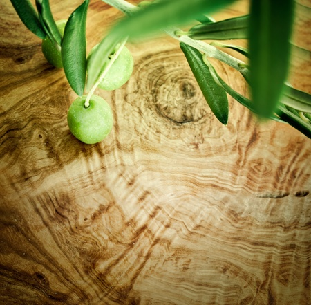 Summer olives nature background with fresh olive branch and olive wood