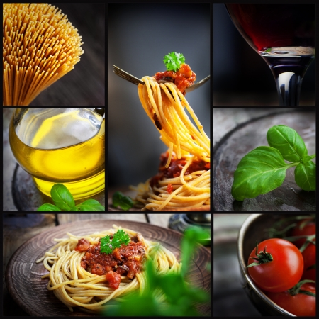 Restaurant series  Collage of pasta with tomato sauce and olives  Italian cooking with Spaghetti, ingredients, basil, wine and olive oil