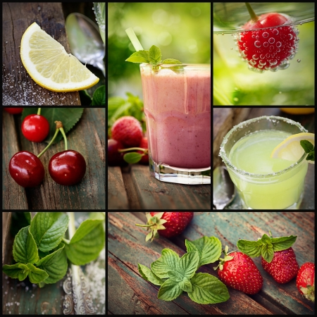 Photo for Restaurant series. Collage of summer Fruit drinks. Strawberry smoothie, lemonade and chery fizzy drinks with tropical fruit. - Royalty Free Image