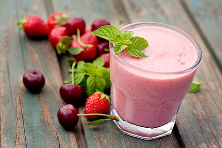 Photo for Healthy organic food. Strawberry fruit drink smoothie - Royalty Free Image