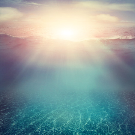 Photo pour Summer background. Underwater sea view. Ocean water surface.  - image libre de droit