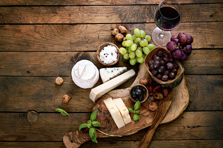Photo for Cheese variety. Food background.  Fresh ingredients on wood - Royalty Free Image