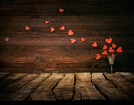 Foto de Valentines day background. Wood Tabletop with hearts. Valentines concept - Imagen libre de derechos