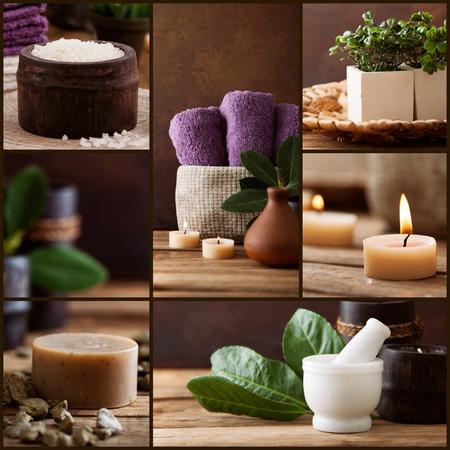 Photo pour Spa collage series.  Beauty products. Floral water, l bath salt, candles and towels. - image libre de droit