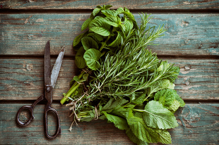Foto de Fresh herbs. Melissa, rosemary and mint in rustic setting - Imagen libre de derechos