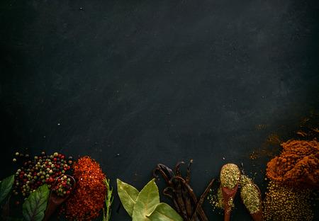 Foto de Spices and herbs. Variety of spices and mediterranean herbs. Food background - Imagen libre de derechos