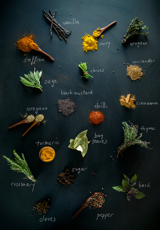 Photo pour Spices and herbs. Variety of spices and mediterranean herbs. Spices with names - image libre de droit