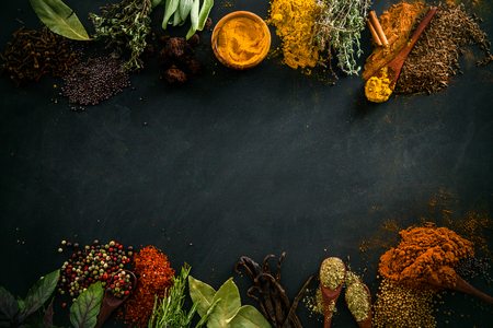 Photo for Spices and herbs. Variety of spices and mediterranean herbs. Food background - Royalty Free Image