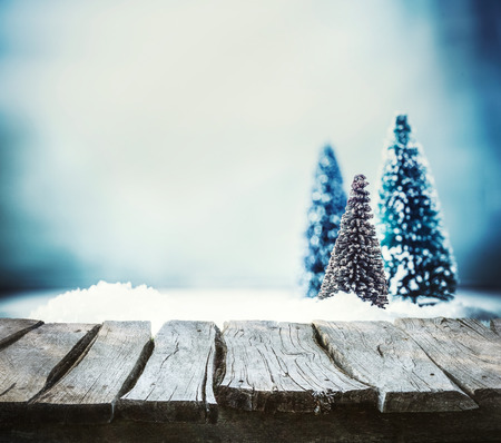 Photo for Christmas background. Xmas fir tree on snow. Empty winter display for your montage - Royalty Free Image