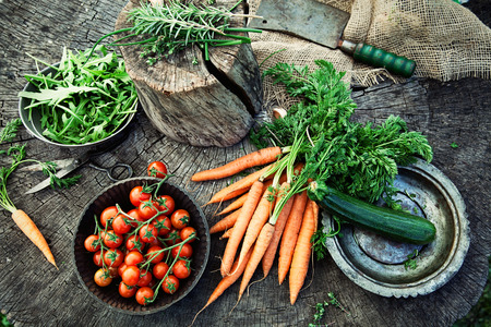 Photo for Fresh organic vegetables. Food background. Healthy food from garden - Royalty Free Image