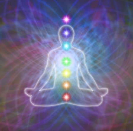 Foto de Lotus position meditation in energy matrix and seven chakras diagram - Imagen libre de derechos