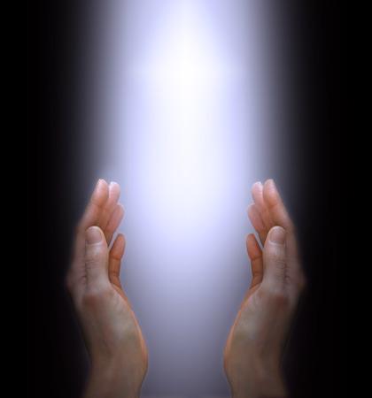 Photo pour Hands reaching up to the Divine Light - image libre de droit