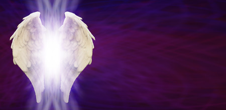 Photo for Angel Wings Banner Head on Purple Matrix - Royalty Free Image