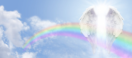 Photo for Angel Wings and Rainbow Website Banner - Royalty Free Image
