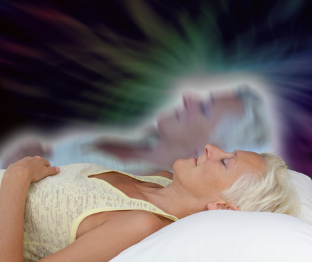 Photo pour Female Astral Projection Experience - image libre de droit