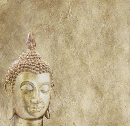 Photo pour Budhha on Parchment Background Poster - image libre de droit