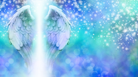 Photo for Angel Wings on Sparkling Blue Bokeh Background - Royalty Free Image