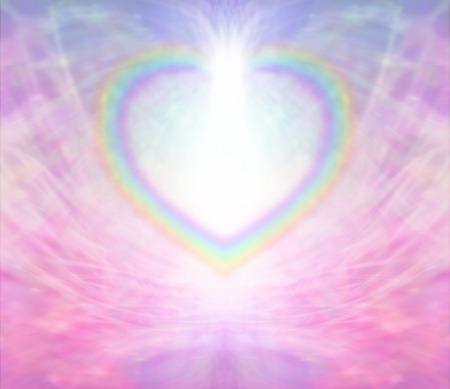 Foto de Rainbow heart border light burst background - Imagen libre de derechos