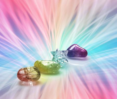 Foto de Radiating Rainbow Healing Crystals - Imagen libre de derechos