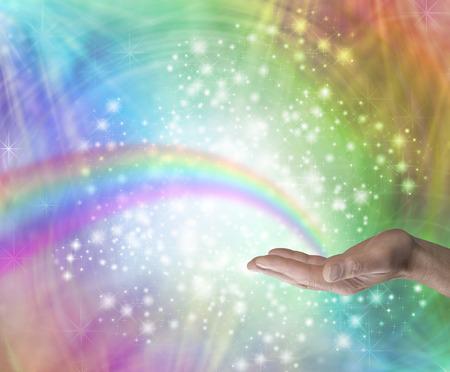 Foto de Sending Rainbow Healing Energy - Imagen libre de derechos