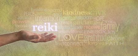 Foto de Female Reiki Healer with Healing Word Cloud - Imagen libre de derechos