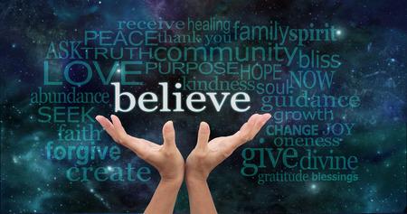 Photo pour Believe Word Cloud on Deep Space background - image libre de droit