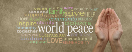 Photo pour Contribute to World Peace Campaign Banner  female cupped hands palm up with the words 'world peace' in white on the left surrounded by a relevant word cloud on beige  colored stone effect background - image libre de droit