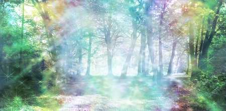 Photo for Magical Spiritual Woodland Energy - rainbow colored woodland scene with streams of sparkling light - Royalty Free Image
