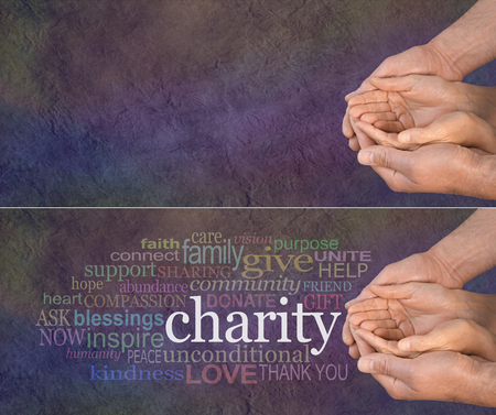 Foto de Please Help our Charity - wide banner with a man's hands holding a woman's cupped hands with a word cloud on the left surrounding the word CHARITY on a dark multicolored stone effect background - Imagen libre de derechos