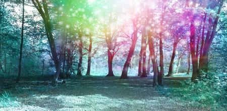 Photo pour Magical Spiritual Woodland Energy Background - Jade blue colored woodland scene with rainbow sparkles depicting supernatural energy - image libre de droit