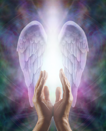 Photo for Male hands reaching up into a beautiful pair of lilac Angel wings with white light - Royalty Free Image