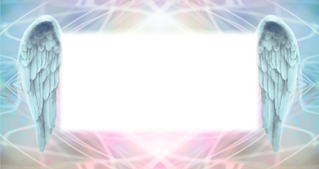 Photo for Angel Wings Message Board   -   wide wispy ethereal energy background with a large misty white central message board area  flanked by a pair of Angel wings - Royalty Free Image