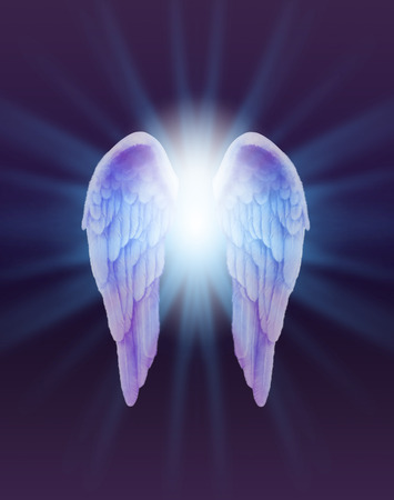 Photo for Blue and Lilac Angel Wings on a dark background - a pair of finely feathered  Angel Wings with a bright white light bursting between  radiating outwards subtle blue on a dark purple and black background - Royalty Free Image