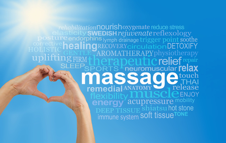 Photo pour Love Massage word cloud - female hands making a heart shape with a MASSAGE word cloud on the right, blue sky background and bright sun burst in top left corner - image libre de droit