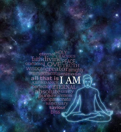 Photo for I AM Meditation Word Cloud  - Night sky deep space background dark banner with  male lotus position glowing silhouette on right side and a transparent word cloud surrounding I AM in white - Royalty Free Image
