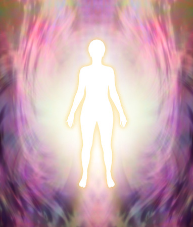 Photo pour Connect with your Higher Self - white female silhouette figure with golden glow on a pink and purple feminine energy field background - image libre de droit
