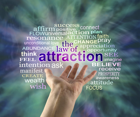 Photo for The Law of Attraction Word Cloud - outstretched female hand with the word ATTRACTION floating above surrounded by a relevant word cloud on a green energy formation background - Royalty Free Image